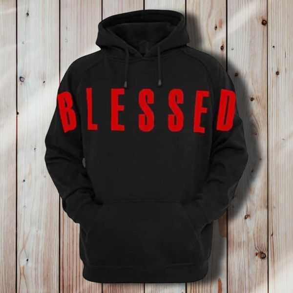 "BENDITO MUZIK BLACK ADULT CHRISTIAN HOODIE WITH RED ""BLESSED"""
