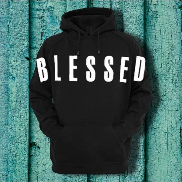 "BENDITO MUZIK BLACK ADULT CHRISTIAN HOODIE WITH WHITE ""BLESSED"" ACROSS"