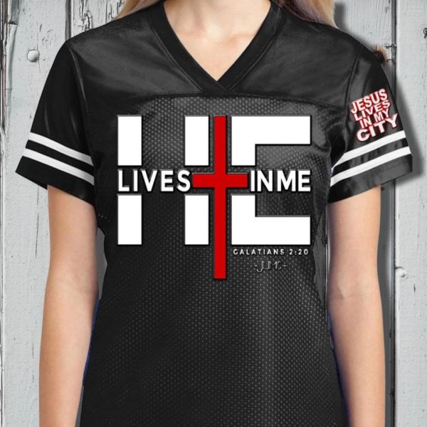 JESUS LIVES IN MY CITY WOMEN'S JERSEY BLACK CHRISTIAN T SHIRTS AND APPAREL CLOTHING