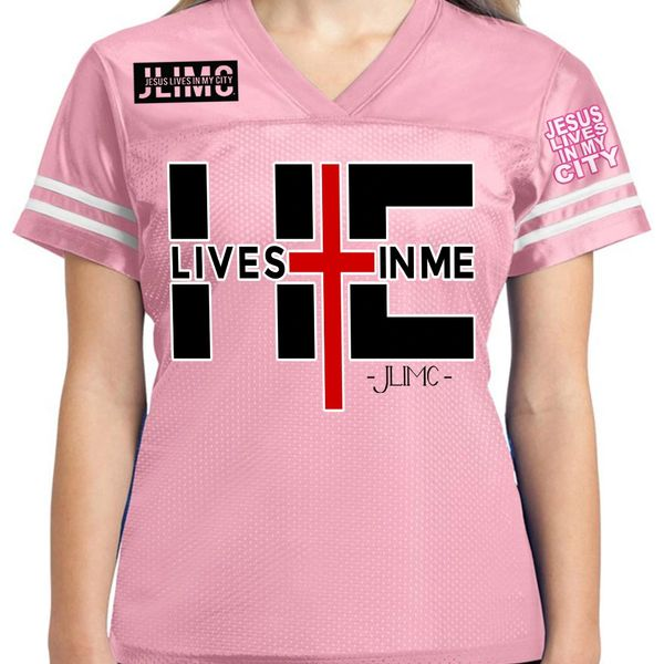JLIMC - JESUS LIVES IN MY CITY - HE LIVES IN MY WOMEN'S JERSEY PINK WITH BLACK PRINT - CHRISTIAN APPAREL - CHRISTIAN TEES