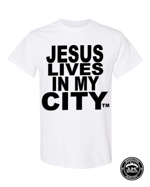 CHRISTIAN T SHIRT - JESUS LIVES IN MY CITY ORIGINAL STYLE SHORTSLEEVE WHITE WITH BLACK- JLIMC
