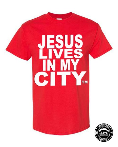 CHRISTIAN T SHIRT - JESUS LIVES IN MY CITY ORIGINAL STYLE SHORTSLEEVE RED WITH WHITE JLIMC