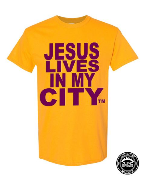 CHRISTIAN T SHIRT - JESUS LIVES IN MY CITY ORIGINAL STYLE SHORTSLEEVE GOLD WITH PURPLE JLIMC