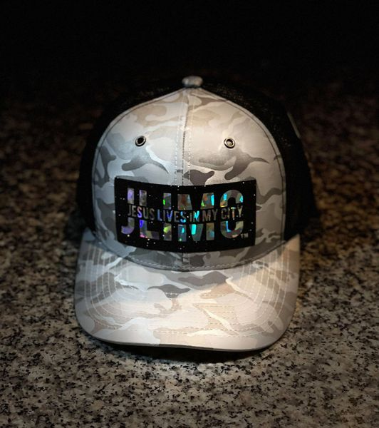 Christian Hats - JLIMC- Jesus Lives In My City Camo with Hologram Cap Hat