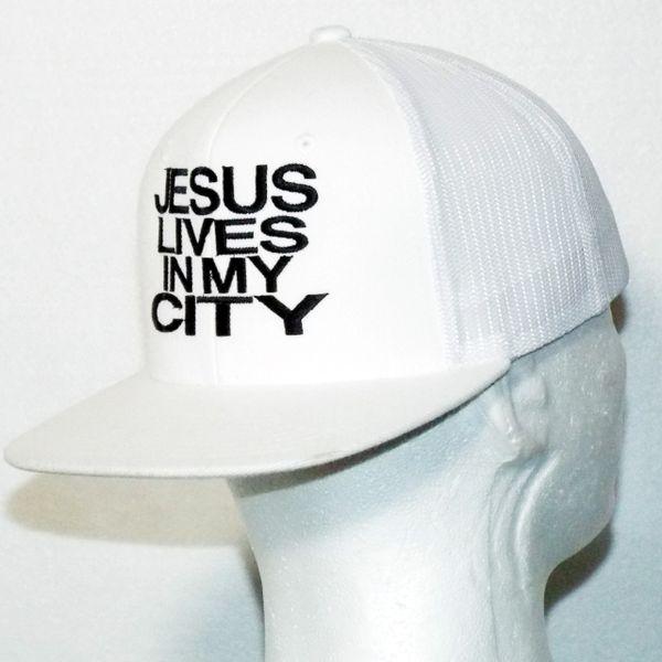 JESUS LIVES IN MY CITY WHITE/BLACK MESH SNAPBACK CAP