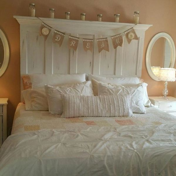 5 Panel Vintage Door Headboard with Faux Distressing