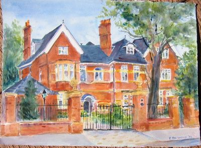 Watercolor of a red brick house
