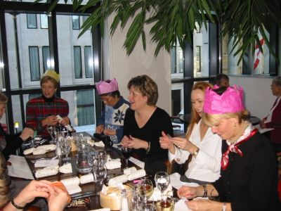 Christmas lunch with crowns