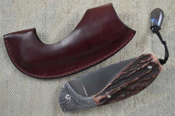 """Hans Weinmueller Damascus """"Buffalo Folder"""", Tail Lock with Stag Scales (SOLD)"""