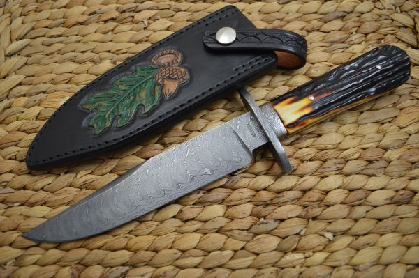 Dickie Robinson, M.S. Damascus Bowie Stag Handle, Rowe Leather Sheath (SOLD)