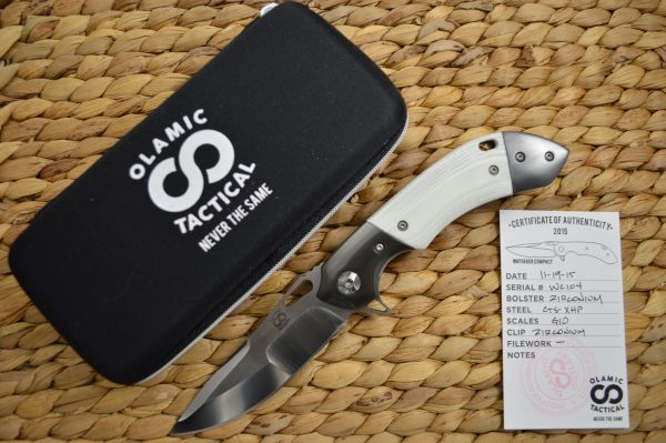 Olamic Cutlery Wayfarer Compact Flipper, Zirconium Bolsters, White G10 Scales (SOLD)