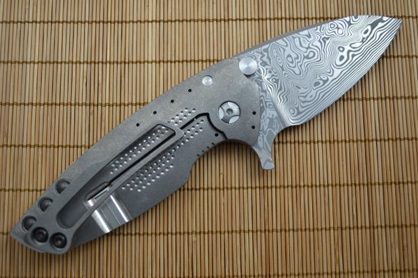 Direware HYPER-90 Flipper, Damasteel Blade, Dual Sided Dot Pattern Titanium Frame (SOLD)