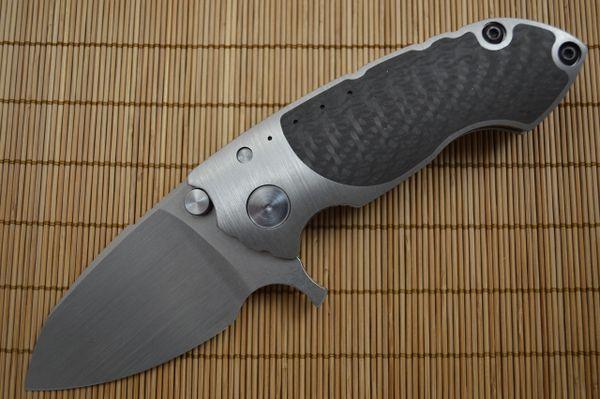 Direware S-90 Flipper, Titanium Frame Carbon Fiber Inserts, M390 Satin Blade (SOLD)