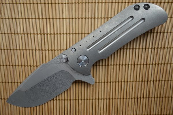 Direware M8 Flipper, Damasteel Multi-Grind Blade, Titanium Frame Single Side Fuller Pattern (SOLD)