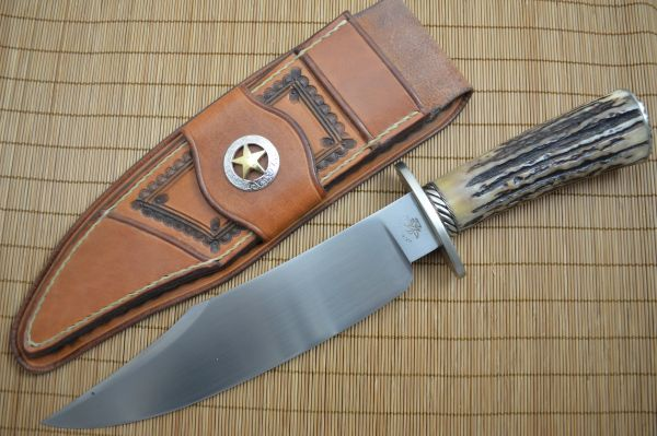 Joe Keeslar, M.S. Stag Bowie, Silver Fittings, Leather Sheath (SOLD)