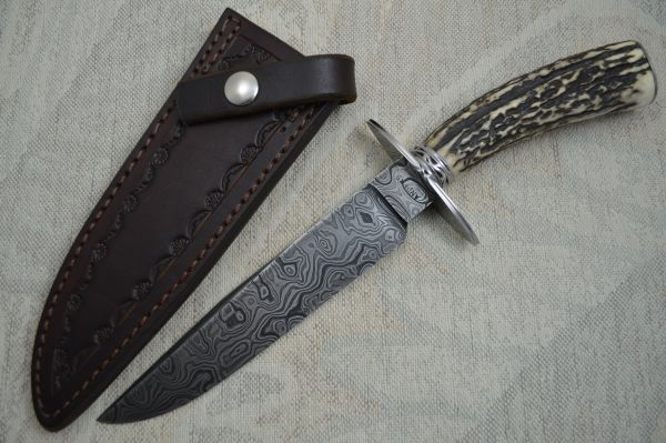 David Anders M.S. Damascus / Stag Bowie, Rowe Leather Sheath (SOLD)