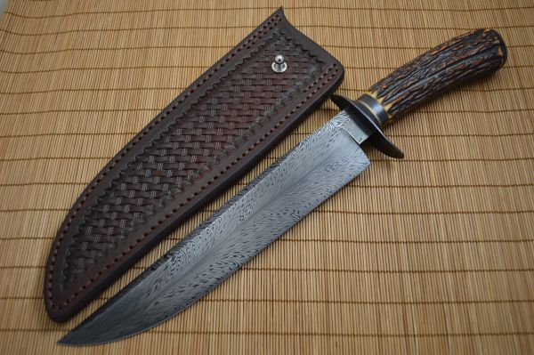 David Lisch, M.S. Feather Damascus Bowie, Sambar Stag, Rowe Leather Sheath (SOLD)