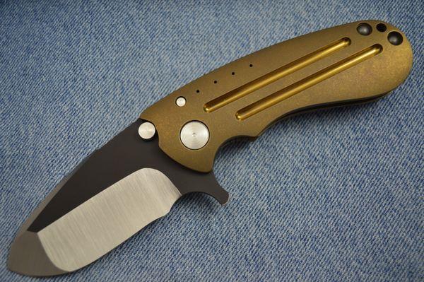 Direware S-95 Flipper, Titanium Frame Tumbled Bronze, Recurve Blade Black Ceramic Flats (SOLD)