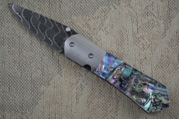 Mike Dilluvio Damascus and Abalone Liner Lock Folder (SOLD)