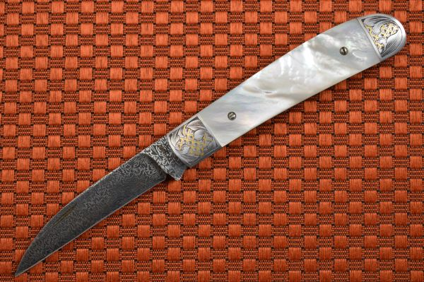 Steve Dunn, M.S. Gents Folder, Mother of Pearl, Thorns and Thistle Damascus, 24K Gold Engraving (SOLD)