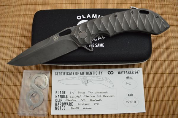 Olamic Cutlery Wayfarer 247 Stealth, Sculpted Titanium, Stonewashed Elmax Blade (SOLD)
