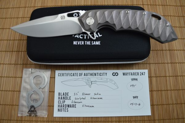 Olamic Cutlery Wayfarer 247 Sculpted Titanium, Satin Elmax Blade (SOLD)