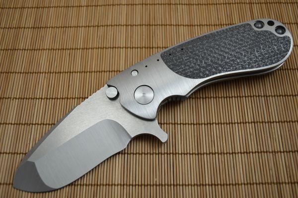 Direware S-95 Flipper, Titanium Frame LSCF Inlays, Satin M390 Recurve Blade (SOLD)