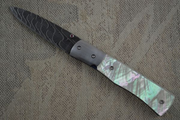 Mike Dilluvio Damascus and Pearl Liner Lock Folder (SOLD)