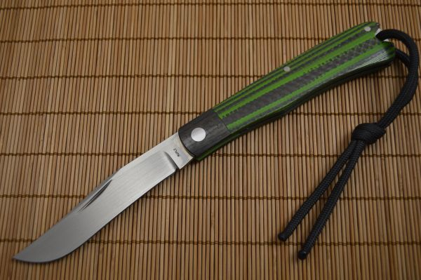 Bill Ruple Slip Joint Linerless Trapper, Carbon Fiber / Green G10, File-Work (SOLD)