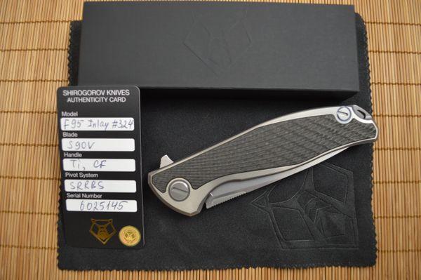 Shirogorov Custom Division Model F95, Titanium Frame-Lock Carbon Fiber Inlays SRRBS Flipper, 2016 Blade Show Lottery #324 (TRADED)
