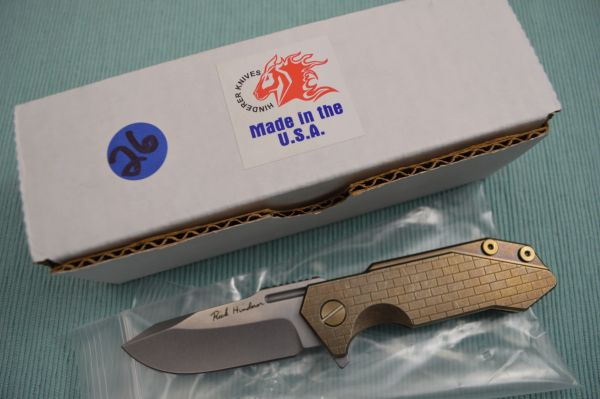 "Rick Hinderer Custom ""Half-Track"" Flipper, Anodized Bronze Titanium Frame-Lock, Tumbled Blade (SOLD)"