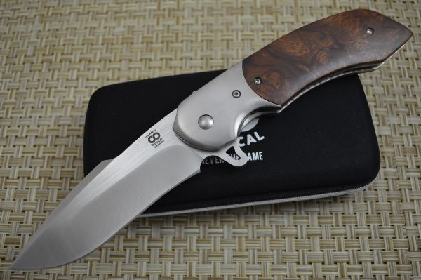 "Olamic Cutlery Custom ""Wayfarer Harpoon"" Liner-Lock Flipper, Ironwood Burl (SOLD)"