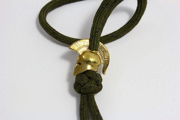 G.H.K. SPARTAN HELMET Bronze Lanyard Bead, Zipper Pull, Paracord FOB