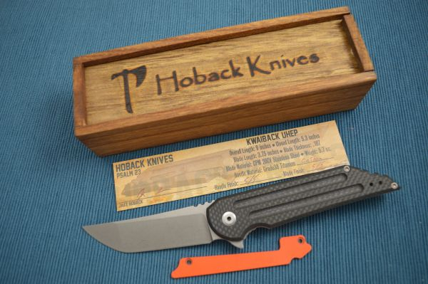 Jake Hoback Carbon Fiber Kwaiback UHEP Frame-Lock Flipper, Hunter Orange G10 Inlay