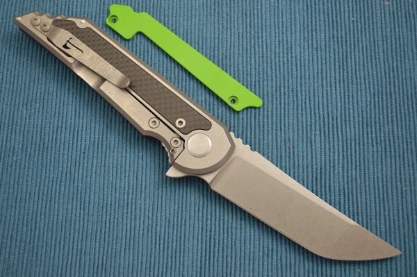 Jake Hoback Carbon Fiber Kwaiback UHEP Frame-Lock Flipper, Toxic Green G10 Inlay (SOLD)