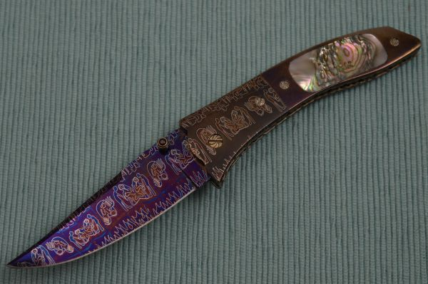 "Joe Olson ""Apocalypse"" Interframe Folder, Damascus, Abalone, Ruby Thumbstud"