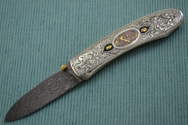 Jim Sornberger Damascus, Gold Engraved San Francisco Folder (SOLD)