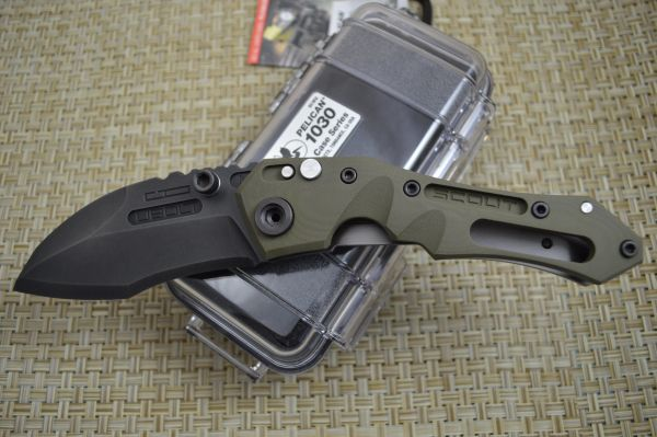 Dwaine Carrillo BUTTON-LOCK Scout M6, OD Green G10, Black Oxide Finish Blade (SOLD)