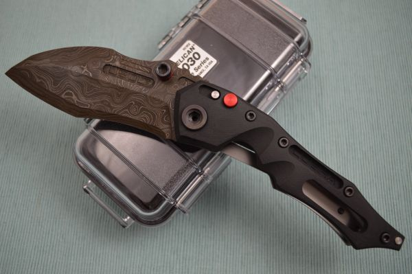 Dwaine Carrillo Alabama Damascus BUTTON-LOCK Cobra M5, Black G10 (SOLD)