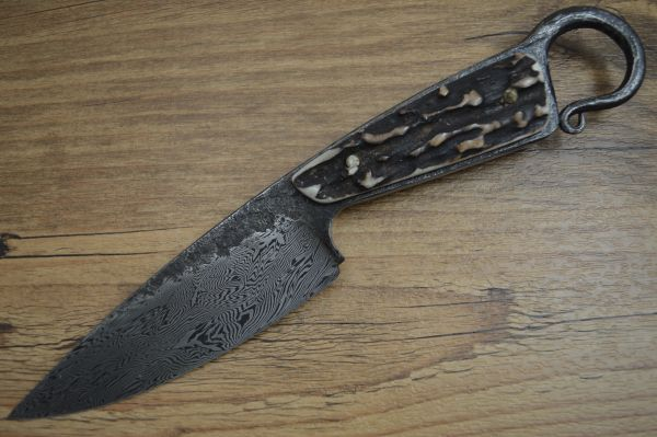 David Lisch, M.S. Flying Dragons Damascus Hunter, Sambar Stag, Rowe Leather Sheath (SOLD)