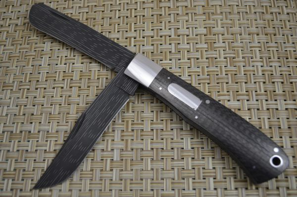 Bill Ruple Large Carbon Fiber Two Blade Trapper, Chad Nichols Starfire Damascus (SOLD)