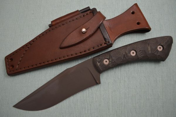 "E. Scott McGhee M.S. ""Rover"" Bushcraft Style Fixed Blade, Leather Sheath (SOLD)"