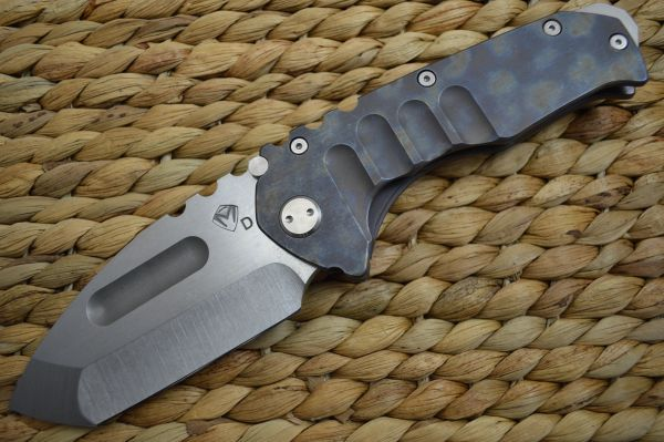 Medford Knife and Tool Praetorian T, Mottled Flame Titanium Handle, D2 (SOLD)