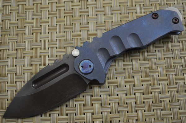 Medford Knife and Tool Micro Praetorian T, Flamed Titanium Handle, PVD D2 (SOLD)