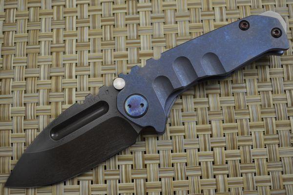 Medford Knife and Tool Micro Praetorian T, Flamed Titanium Handle, PVD D2 (SOLD)