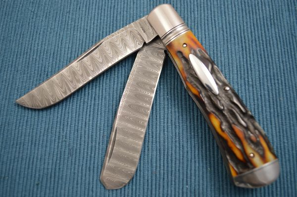 Bill Ruple Stag Two-Blade Devin Thomas Damascus Trapper, File-Worked Liners (SOLD)