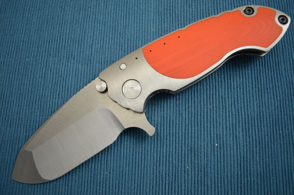 Direware SOLO Flipper, Orange G10 Inlays, Non-Recurve Blade Tumbled Flats (SOLD)