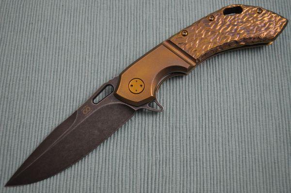 Olamic Cutlery Wayfarer 247 Molten Titanium, Faux Orange Peel Bolster, PVD Blade