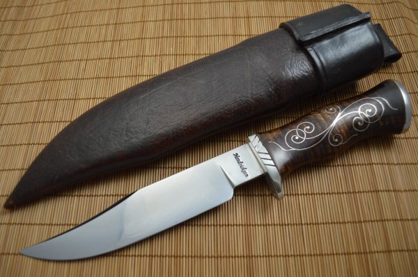 Jay Hendrickson, M.S. Clip Point Hunter, Curly Maple, Silver Wire Inlay (SOLD)