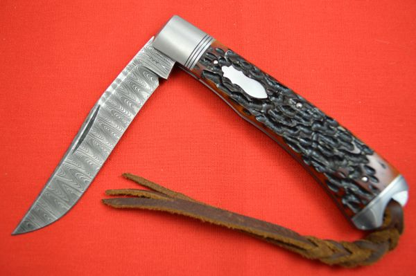 Bill Ruple Slip Joint Trapper, Amber Jigged Bone, Devin Thomas Damascus, File-Work (SOLD)
